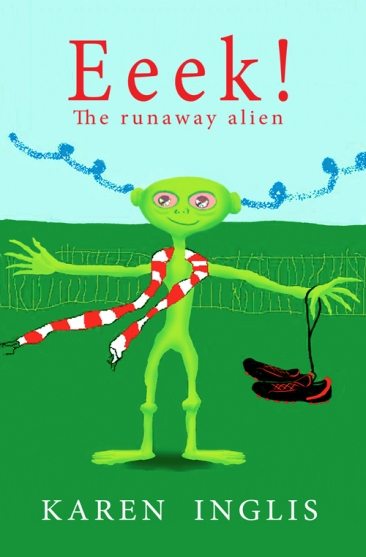 Front cover of Eeek! The Runaway Alien - a green alien with blue smoke wafting from his ears and wearing a red and white England scarf and holding soccer boots