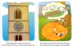 Image of church and fox sleeping