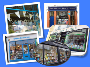 Image of 5 bookshop store fronts