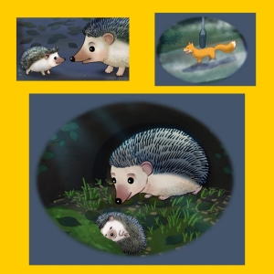 Images of Hatty the hedgehog and her baby son ed, and of Ferdinand Fox trotting along at night