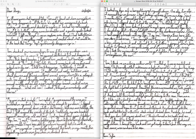 Image of a handwritten diary account from The Secret Lake - Year 5 Pupil at Redcliffe School, Chelsea