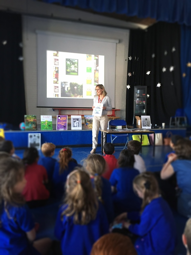 Image of author Karen Inglis speaking to children at a school author event