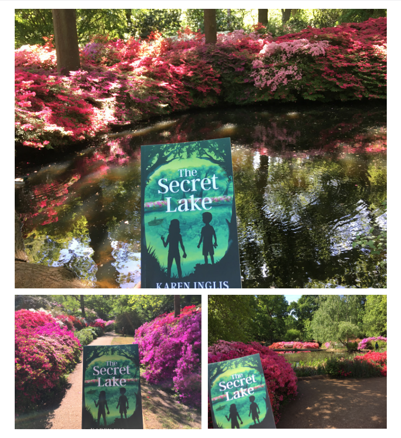 Three images from Isabella Plantation in Richmond Park -- with vibrant pink azaleas in a magical woodland