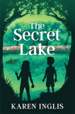 Two children looking over a lake -- the front cover of The Secret Lake book