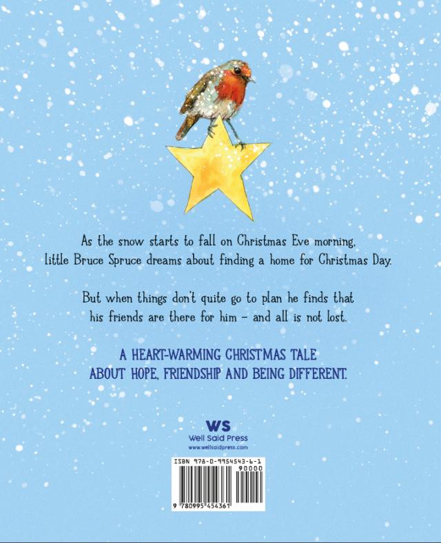 robin in snowy scene sitting on a star