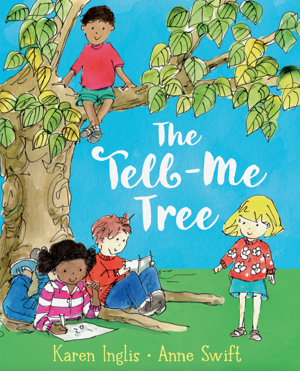 Children sitting below a tree talking, reading and drawing, with one little boy sitting up on the tree branch