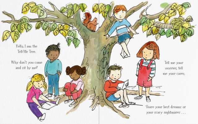 Children sitting and standing under a tree and talking or drawing