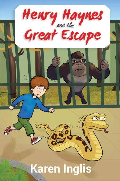 book cover with boy, snake and gorilla