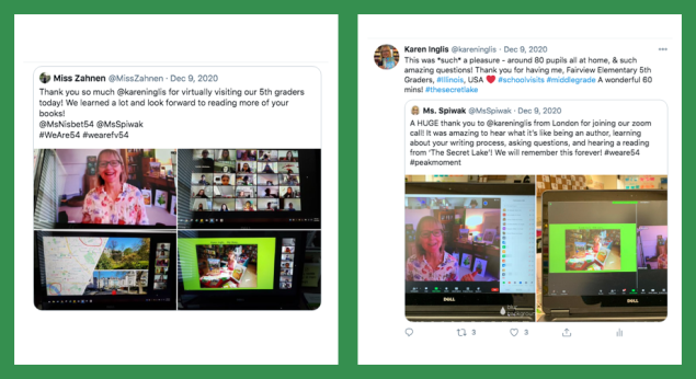 Image of Karen Inglis school zoom visits - from twitter